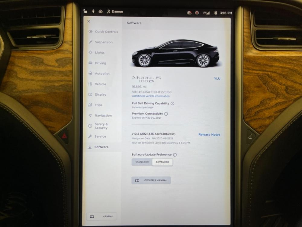 2018 Black /Black Leather Tesla Model S 100D (5YJSA1E2XJF) with an ELECTRIC engine, Automatic transmission, located at 9900 Woodway Drive, Woodway, TX, 76712, (254) 751-1444, 31.493961, -97.228523 - Photo #19
